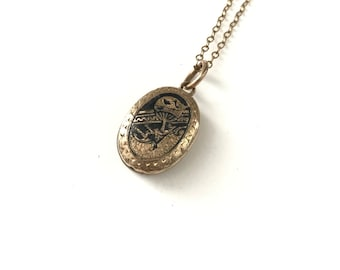 Antique Victorian Enamel Hot Air Balloon Locket