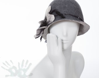Felted hat / Gray hat with flower  / Wool and silk / Cloche hats  / Nuno felt silk / Unique item / Ready to ship/ Free shipping.