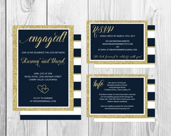 Navy and Gold Wedding Invitation Set,  Printable Invitations, Navy White Wedding Invitation Set, Gold and White, S-028