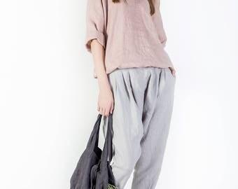 Linen pants, Loose womens trousers, Boho pants, Long linen pants, Casual loose linen wide leg pants, Harem pants, Oversized linen clothing