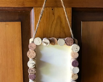 Wooden Picture Frame with Wine Cork Embellishment