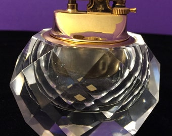 Vintage Diamond Cut Glass Crystal Windmill Table Lighter Made In Japan