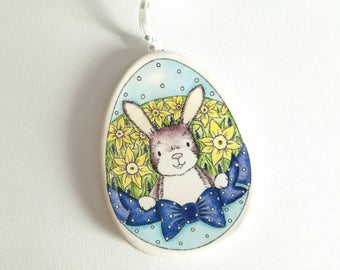 Pottery rabbit decorations, ceramic Easter tree ornaments, Easter bunny