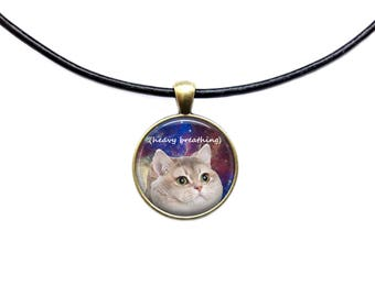Heavy Breathing Cat pendant Space jewelry Meme necklace