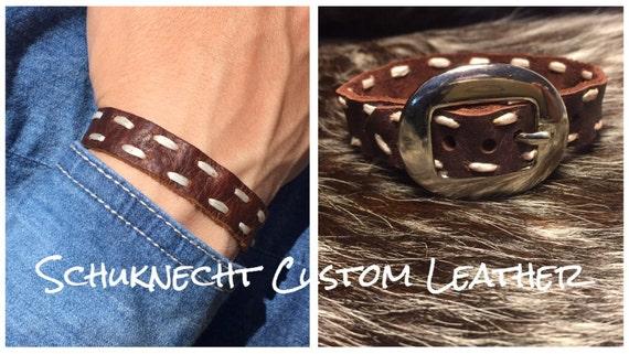 Leather Bracelet Buck Stitched