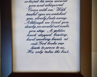 God Saw That You Were Getting Tired Memorbilia Framed Embroidered Wall Art