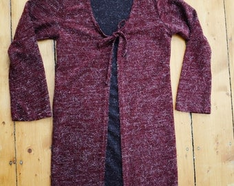 Fuzzy Burgundy LS Shirt/Duster