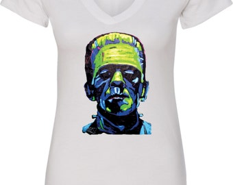 Ladies Frankenstein Face V-Neck Shirt 20719NBT2-N1540