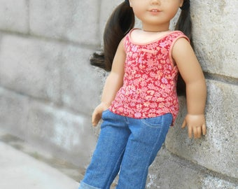 Red Floral Tank Top for American Girl Dolls