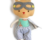 Stuffed bunny plush rabbit toys superhero ragdoll, stuffed toy as easter gift for toddlers, bunny kids, softie for babyshowe
