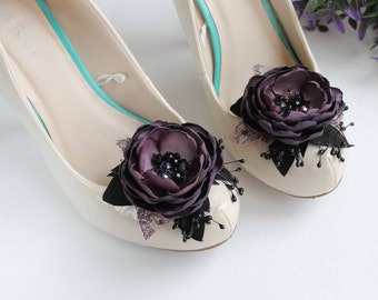 Purple Flower Shoe Clips, Wedding Flower Shoe Clips, Dark Purple Black Shoe Clips, Bridal Shoe Accessories, Clip on Flower Decorative Shoes
