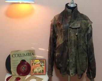 Vintage Leather Jacket, Vintage mens Coat, 70s Mens Jacket,Mens, Brown Cosy Jacket, Vintage Coat, 1970s Coat, Winter, Mens Coat, 1970 Jacket