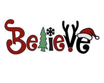 Iron On Fabric Applique, Believe Christmas Applique Design, DIY Applique Kit for Pillows, Banners, Flags, Tote Bags, T Shirts By DIY Sewing