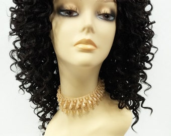 14 Inch Lace Front Off Black Curly Wig. Small Spiral Curls. Heat Resistant Synthetic Fashion Wig. [112-518-Flora-1B]