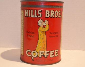 Vintage 1930's Hills Brothers Coffee Can