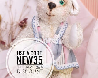 Hand Made Teddy Bear Girl Design Doll Collectible Soft Toy Cute Present for Children and Adults