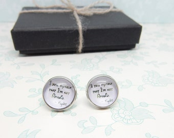 Piglet Quote Earrings, I Tell Myself That I'm Not Afraid, Winnie the Pooh, Silver Studs, Quote Earrings