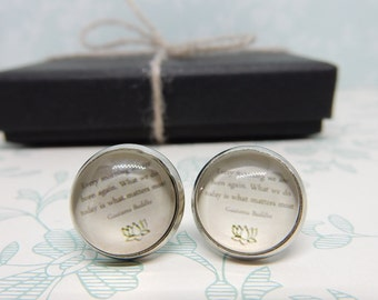 Buddha Quote Cabochon Studs, Inspirational Quote, Every Morning We are Born Again, Words of Wisdom