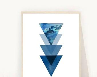 Triangle Print, Blue Triangles, Geometric Art Print, Printable Art, Geometric Triangles,  Instant Download, Modern Wall Art, blue Wall Art