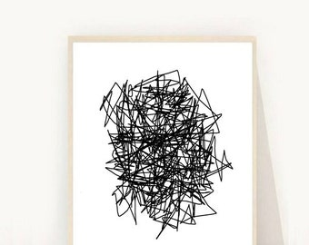 Abstract Print, Printable Art, Black and White Print, Minimalist Art, Scandinavian Art, Modern Wall Art, Instant Download
