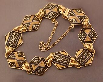 Vintage Black and Gold Damascene Link Bracelet with Arabesque Design