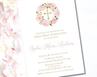 Floral Baptism Invitation | Girl Christening Invitations | Pink Christening Invitations | Pink Floral Christening Invitations | FHC07GA