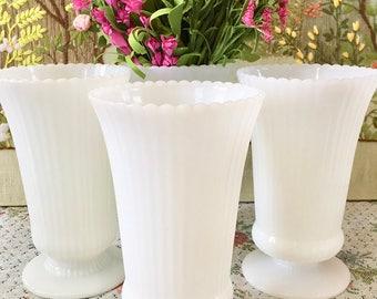 Milk Glass Vases Wedding Centerpiece Vases Wedding Vases Flower Vases Vintage Vases Bulk Vases Tall Vases Bouquet Holder Sold Individually