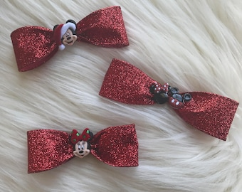 Minnie and Mickey Christmas Bows