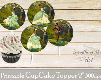 Princess and the frog Cupcake toppers printable, Tiana  birthday, Printable cupcake toppers, Birthday party supplies, Tiana Cupcake toppers