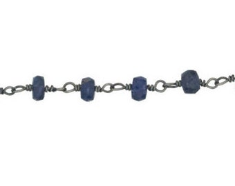 Sapphire Chain - Sterling Silver Oxidized Chain By the Foot (SS)