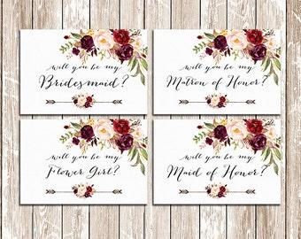 Will You Be My Bridesmaid Printable set, Wedding Card, DIY Wedding, Bridal Proposal, Digital Download, bridal invitations - BPF-23