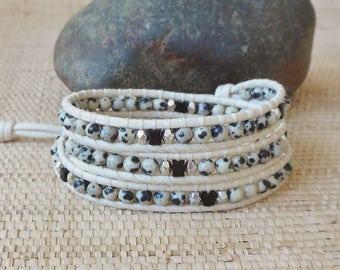 Black & White Beaded 3 Wrap Bracelet: Dalmation Jasper/Vegan Wrap Bracelet/Gift for Her/Virgo Woman/Healing Bracelet/Boho Chic Bracelet