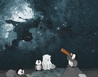 Polar Bear and Penguin - Stargazing in the Arctic