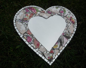 Made to order: Mirror edged vintage china mosaic heart mirror with teacup handle and souvenir spoon