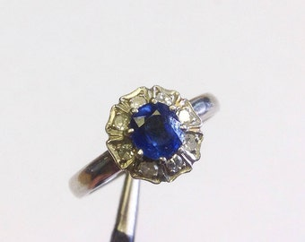 Vintage, sapphire, diamond and palladium ring, US size 6, UK size L 1/2.