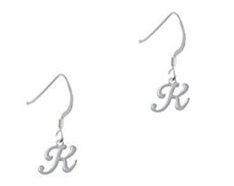 Initial charm earrings, initial jewelry, initials, initial charms, initial ear wire earrings,  silver tone initial jewelry, silver initials