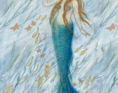 "Mermaid and Her Golden Seahorse, Mermaid Art, 5"" x 7"" folded greeting card, original by Tina Obrien,BEACH ART, seahorse, cottage"