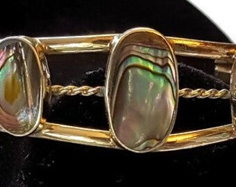 Alpaca jewellery Mexico vintage bangle with three oval Abalone panels and silver scrollwork