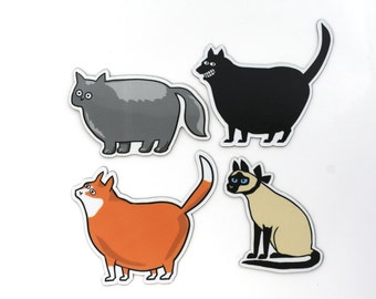 cat magnets, funny cat magnet, persian cat, siamese cat, fat cat magnet, orange cat magnet, heavy duty cat magnets, 30ml cat magnets