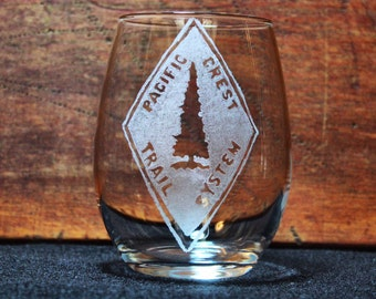 Pacific Crest Trail (PCT) Hand-Engraved Stemless Wine glass