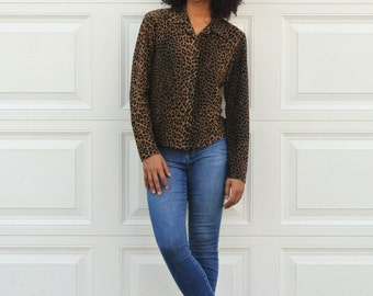 Vintage 90s Leopard Print Top Womens Semi Sheer Blouse Animal Print Button Up Black Brown Long Sleeved Cheetah Print Tribal Hipster Shirt
