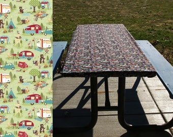 Fitted Tablecloth • Folding Table Cover • Vintage • Retro • Picnic Table Cloth • Elastic Table Cover • Tents Trailers • Green Camper Decor