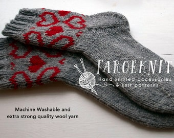 Hand knitted Wool Socks for women, hand knitted wool socks, socks for women, fair isle socks, socks for her, Valentine gift for her,
