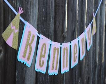 Tribal Birthday Party, Wild One Birthday Banner, Dream Catcher Birthday Banner, Teepee Banner, Tribal Shower, Tribal Decor, Boho Banner