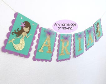 Mermaid Banner, Under The Sea Banner, Mermaid Name Banner, Mermaid Birthday Banner, Lavender And Aqua Birthday Banner, Gold Mermaid Banner