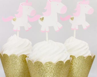 Unicorn Cupcake Toppers, Unicorn Birthday Party Decorations, Pink and Gold Unicorn Cupcake Toppers, Unicorn Baby Shower