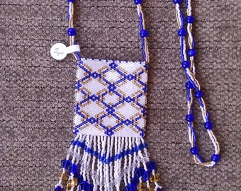 Beaded White, Blue, and Gold Geometric Design Peyote Pouch Necklace, Native American Style Medicine Bag