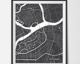 St Petersburg Russia Map Art, Russia Art Print St Petersburg Map of St Petersburg City Map Poster Russia Gift St Petersburg Art Poster