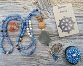 Dharma Mala Collection , Blue Aventurine, Pyrite Mala, Dharma Mala, Hand knotted Prayer Beads, Picture Jasper Mala, Blue Mala Prayer Beads