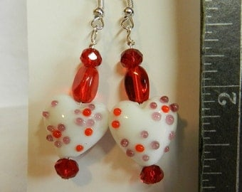 Handcrafted Earrings, Valentines, Hearts, Red, Dangles